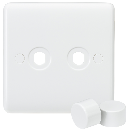 Curved edge 2G dimmer plate with 2 matching dimmer caps (DFL1CU2DIM)