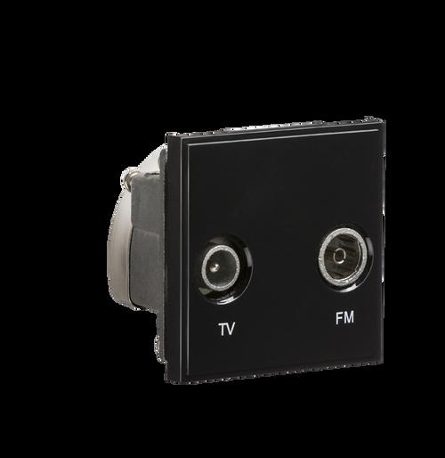 Black Modular Diplexed TV /FM DAB Outlet (DFL1NETDITVBK)