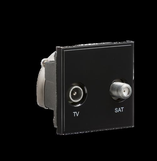 Black Modular Diplexed TV /SAT TV Outlet (DFL1NETDISATBK)