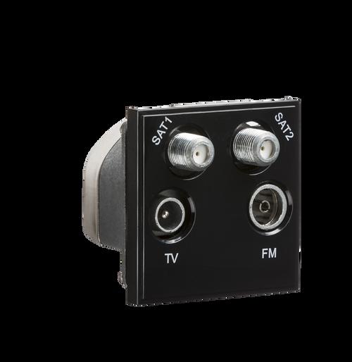 Black Modular Quadplexed SAT1/SAT2/TV/FM DAB Outlet (DFL1NETQDBK)