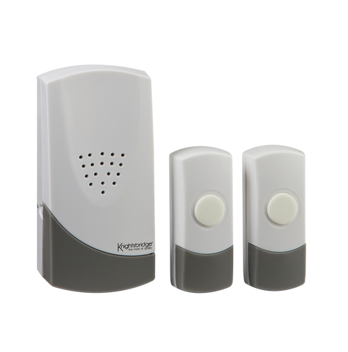 White Wireless Dual Entrance Door Chime Kit (100m range) (DFL1DC007)