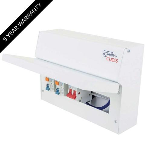 8 Way Lumo Metal Split Load Consumer Unit 100A Main Switch + 2 x 63A 30mA RCD (DFL3MCU14S63TIW)