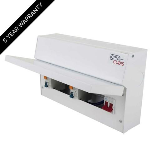 12 Way Lumo Metal Split Load Consumer Unit 100A Main Switch + 2 x 80A 30mA RCD (DFL3MCU18S80TIW)