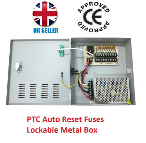 9 Way 10A 12V DC CCTV Power Supply Unit PSU with PTC Fuses Lockable Metal Box
