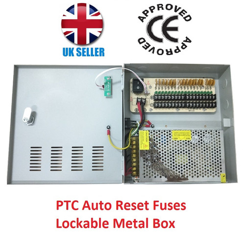 18 Way 20A 12V DC CCTV Power Supply Unit PSU with PTC Fuses Lockable Metal Box