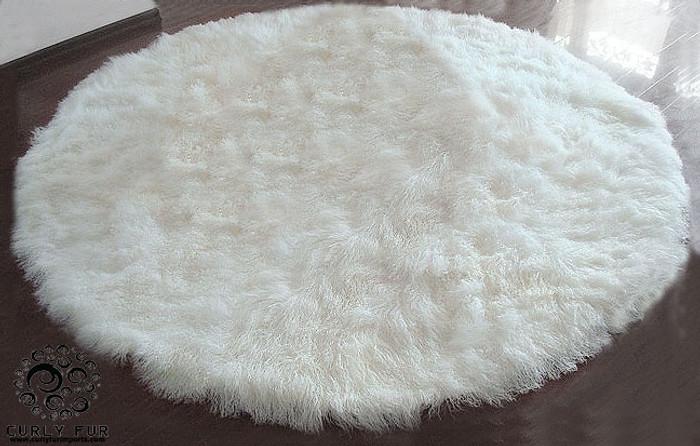 8' Tibetan / Mongolian Lamb Fur Round Rug Grey - Modern ... |Mongol Rug