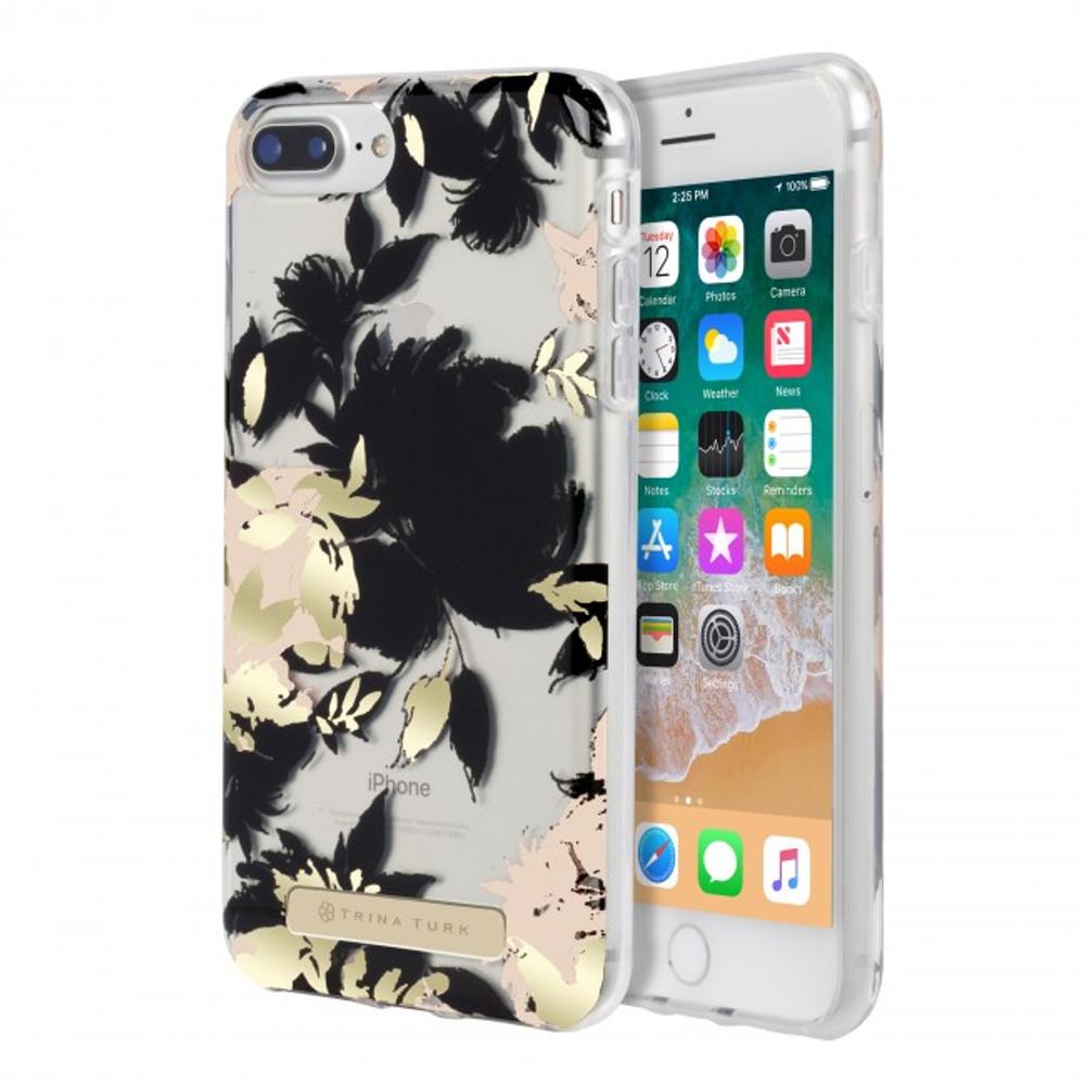 Trina Turk Translucent Case  for iPhone 8 Plus - Wintergarden Black/Blush/Gold Foil/Clear