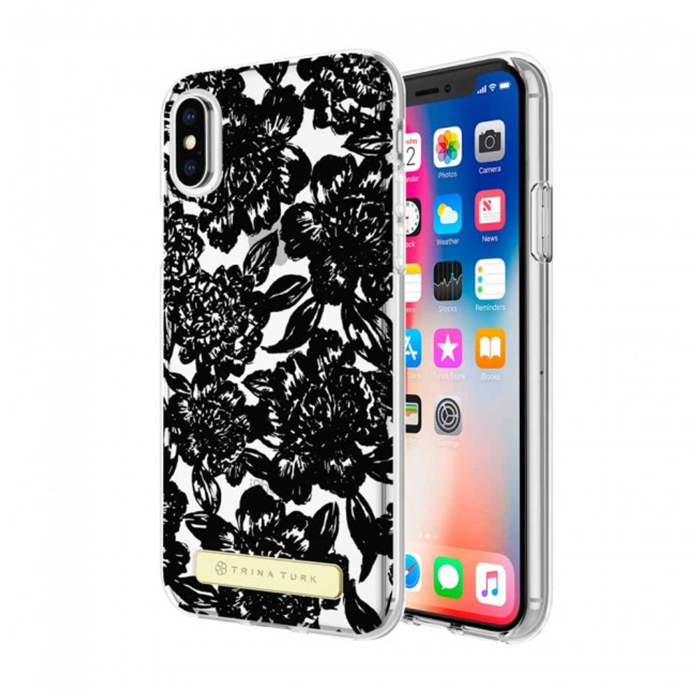 Trina Turk Translucent Case (1-PC) for iPhone X - Sea Swirl Floral Black/Clear