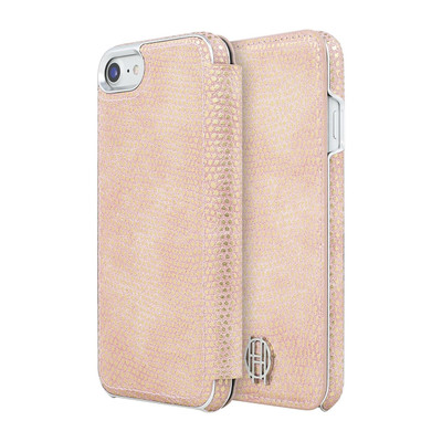 House of Harlow Folio Case for iPhone 7 - Pink Kraits / Silver Metallic