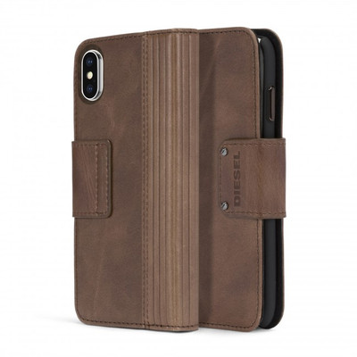 Diesel Folio Case for iPhone X - Brown Lined Leather