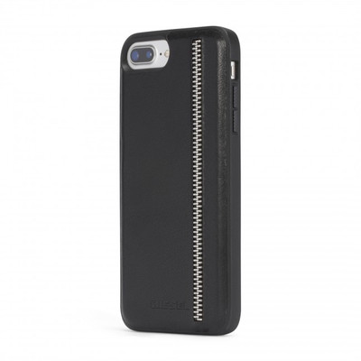 Diesel Leather Co-Mold Case for iPhone 8 Plus, iPhone 7 Plus, iPhone 6/6s Plus - Zip Black Leather
