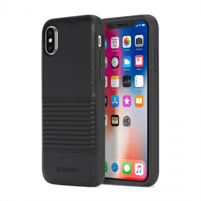 Diesel Leather Co-Mold Case for iPhone X - Black Lined Leather