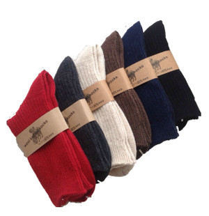 Lian LifeStyle Men's 2 Pairs Knitted Wool Crew Socks One Size 8-11 Men's Clothing