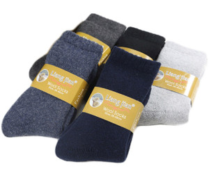 Lovely Annie Men's 2 Pairs Extra Thick Wool Socks Solid Size 6-10