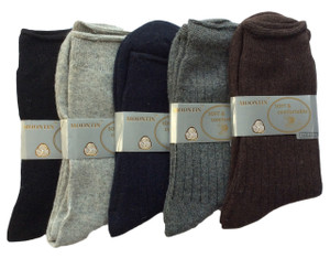 Lovely Annie Men's 5 Pairs Pack Rabit Hair&Wool Crew Socks Solid Size 7-11 Solid
