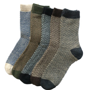 Lovely Annie Women's 5 Pairs Pack Rabit Hair&Wool Crew Socks Size 8-11 Stripped