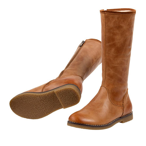 Grace Leather Long Boot - Tan