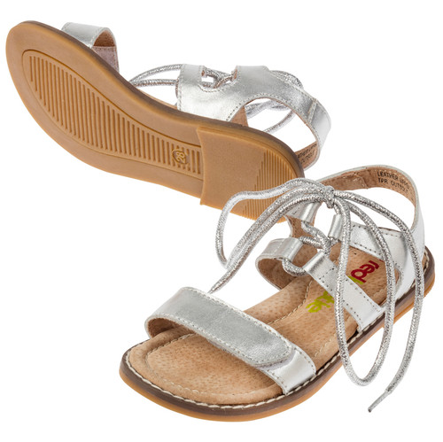 Amber Girls Leather Sandal with Ankle Tie - Silver
