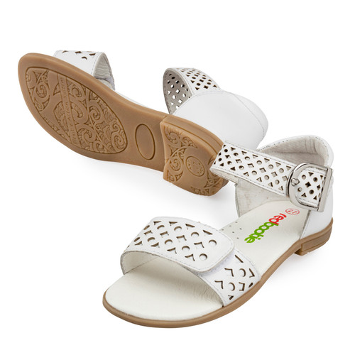 Isla Girls Leather Sandal - White
