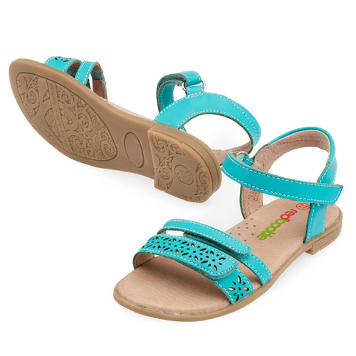 Amy Girls Leather sandal - Aqua