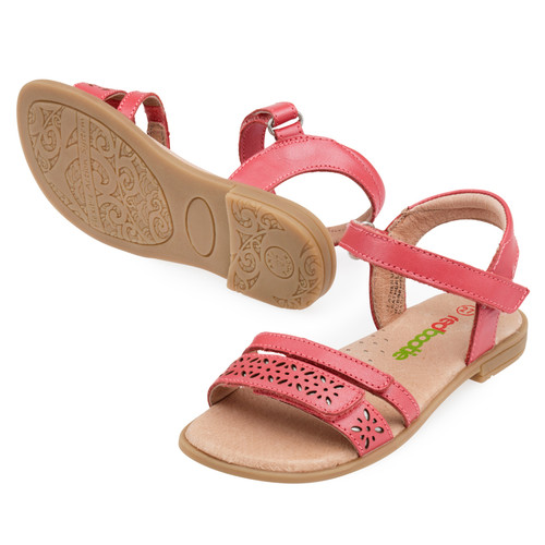 Amy Girls Leather sandal - Coral
