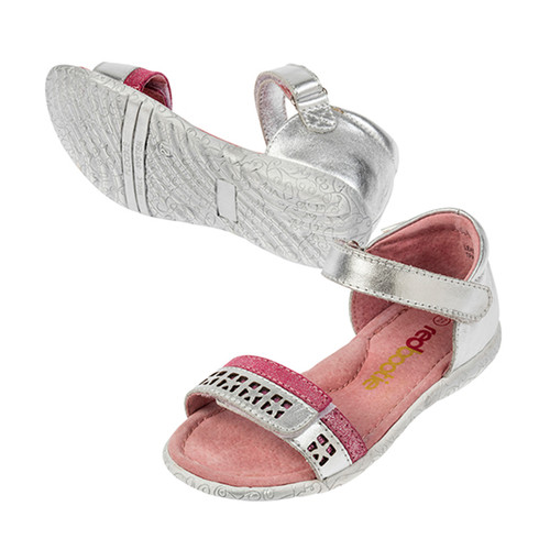 Emme Girls Leather Adjustable Sandal - Silver/Pink