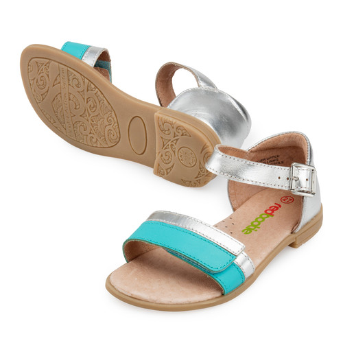 Jasmine Girls Leather Adjustable Sandal - Aqua