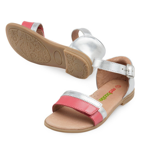 Jasmine Girls Leather Adjustable Sandal - Coral