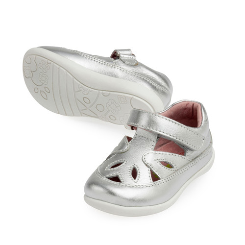 Cassidy Girls Leather Summer Shoe - Silver