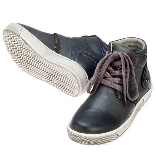 Samson Boys Leather Lace-up Boot - Navy