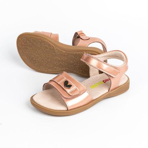 Emma  Patent Leather Girls adjustable Sandal - Peach