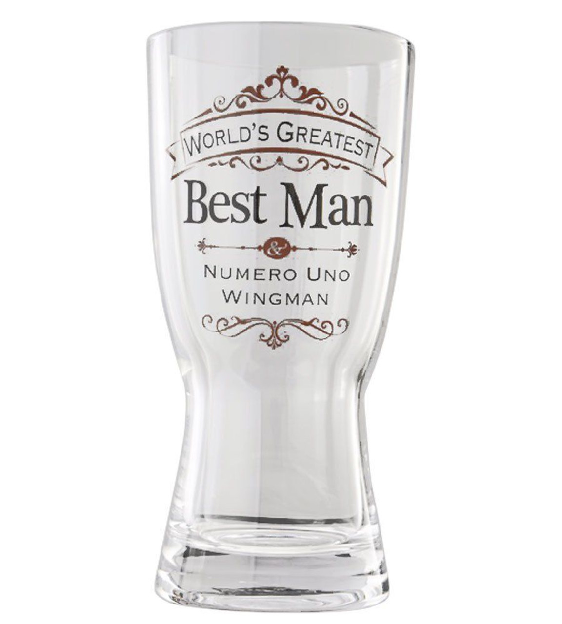 Insignia Best Man Beer Glass Wedding Gift 8 Inches Bluebasilgifts