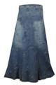 Clove Pleated Long ankel length Denim Skirt Plus Size Online