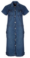 Clove Womens Dress Blue Denim Short Sleeves Button Up Combat Style