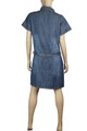 Clove Womens Blue Denim Military Style Urban Safari Shirt Dress