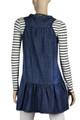 Blue denim  plus size short sleeveless feminine tunic dress