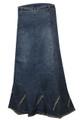 elastic waist denim long skirt back view