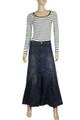 full length long denim skirt for womens