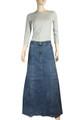 Blue Full length Jeans Denim Skirt Plus Size
