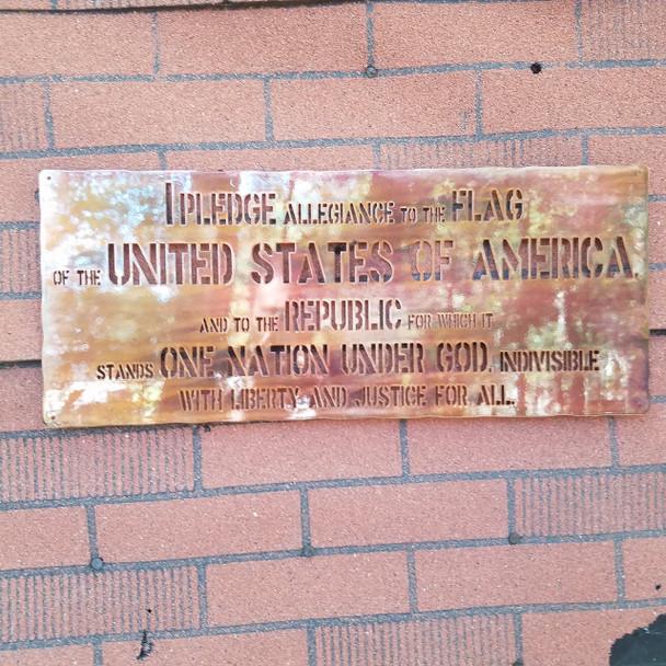 """24"""" Rustic """"Pledge Allegiance"""" Sign"""