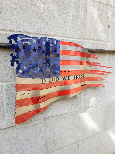 """24"""" x 14"""" Painted  """"In God We Trust"""" Battle Worn Flag"""