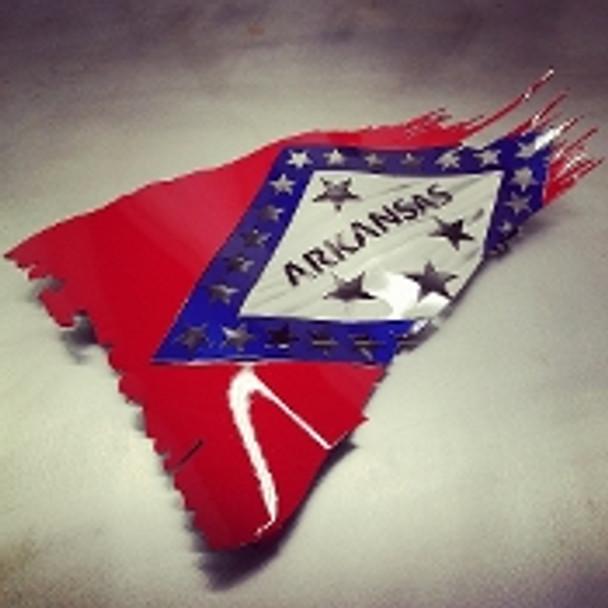 "Arkansas Battle Worn Flag 24"" x 14"""