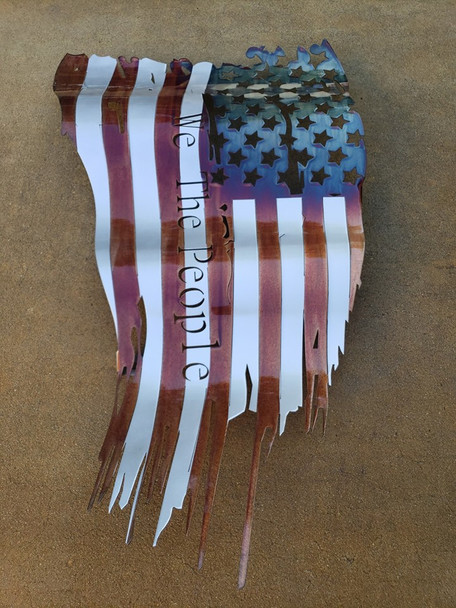 "Battle Worn ""We The People"" Patina 24""x14"" Flag"