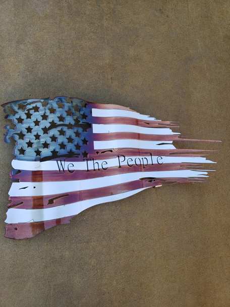 "Battle Worn ""We The People"" Patina 36""x21"" Flag"