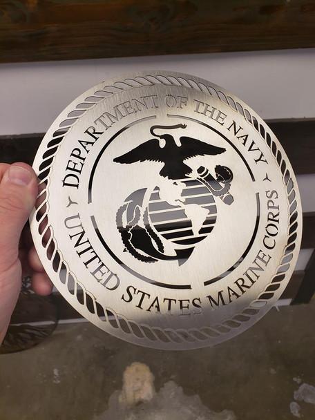 "8"" Stainless USMC Seal"