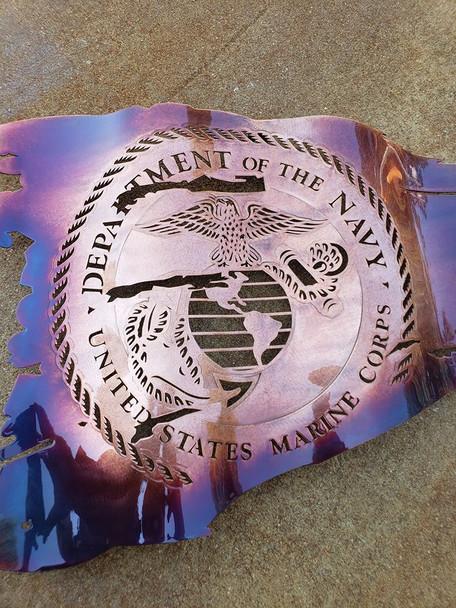 "24"" x 14"" Marine Corps Seal Patina Battle Worn Flag"