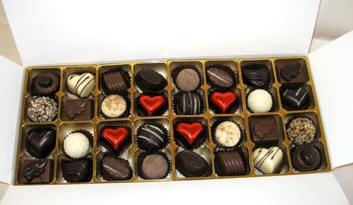 White gift box - 32 chocolates with red hearts $62.50