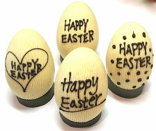 """""""Happy Easter"""" hollow white chocolate egg 165mm high $27.50"""