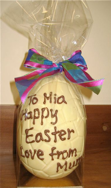 Personalised hollow white chocolate egg 165mm high $27.50