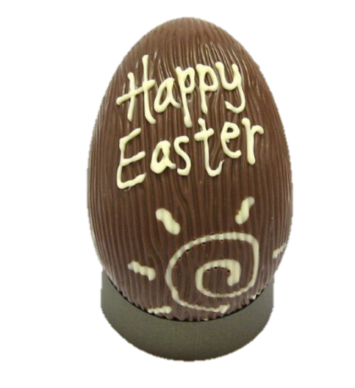 """""""Happy Easter"""" hollow milk chocolate egg 215mm $35.00"""